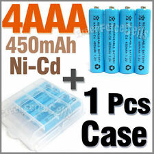 1 Case + 4 AAA Ni-Cd 450mAh rechargeable battery Blue