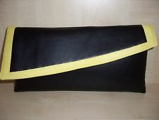 COLOUR BLOCK BLACK, YELLOW  faux leather & suede clutch bag, UK made
