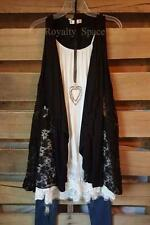 GYPSY BOHO VEST BLACK SLEEVELESS LACE OPEN FRONT LACE VEST - 2X