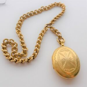WOW Vintage Victorian Style OVERSIZED LOCKET and Chain Double