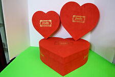 Three Heart Shaped Flower and Craft Shape Boxes Small Medium And Large In Red
