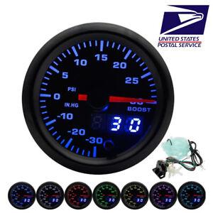 52mm Car LED Turbo Boost Gauge PSI Meter Analog/Digital Dual Display w/ Sensor