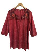 Womens Lucky Brand 2X Top Plus Size Embroidered Peasant Long Sleeve Vneck Shirt