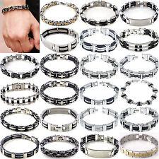 GUT Herren schwarz Gummi Armband Silber Edelstahl Armband Kette Hohe Qualität