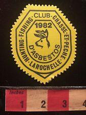 Vtg 1982 Patch Canada Hunt Fish Club Chasse et Pêche LaRochelle d'Asbestos 60B