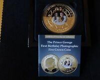 2014 GOLD PLATED PROOF TDC 5 CROWNS COIN BOX + COA 1ST BIRTHDAY PRINCE GEORGE