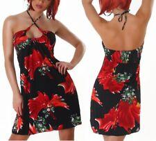Sexy Miss Damen Neckholder Perlen Mini Kleid 34/36/38 Blumen schwarz rot bunt