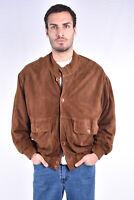 VINTAGE Suede Leather Jacket Giubbotto Rennino In Pelle TG XXL Uomo Man