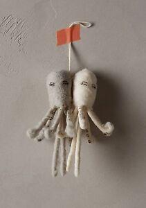 Anthropologie Vintage by Crystal Arctic Explorer Spun Cotton Octopus Ornament