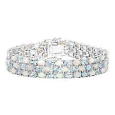 Blue Topaz 925 Sterling Silver Tennis 22.28 ct Bracelet Opal Gemstone 7 inches