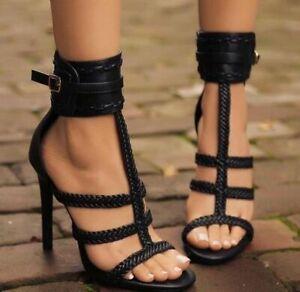 Sexy Women Open Toe Ankle Buckle T-Strap Stiletto Heels Sandal Prom Pumps Shoes