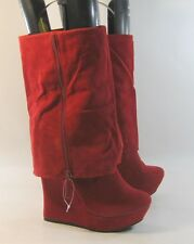 """RED 5.5""""high wedge heel 1.5""""platform  round toe mid-calf sexy boots size  9"""