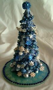 Christmas - Figurine - Blue Christmas Tree Tabletop Decoration - 7in tall