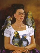 "FRIDA KAHLO Art Poster or Canvas Print ""Me and My Parrots"""