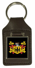 Moffatt Family Crest Surname Coat Of Arms Brown Leather Keyring Engraved