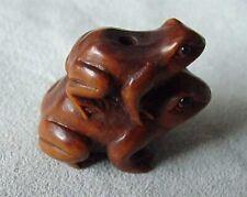 Carved Signed Boxwood Piggy Back Frog Ojime/Netsuke Bead | 26x19x15mm | Brown