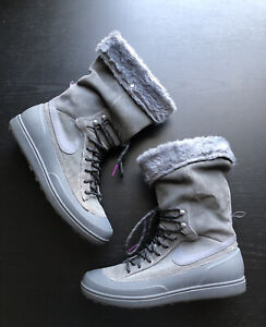 Nike Women Storm Warrior High Lined Gray Suede Boots Sneaker Mid Calf Lace Sz 7