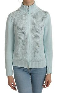 DIANE FIRSTEN Sweater Blue Long Sleeve Zippered Cardigan IT44/US10/L