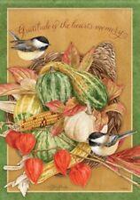 "Gratitude Cornucopia Thanksgiving House Flag Fall Autumn Bounty Birds 28"" x 40"""