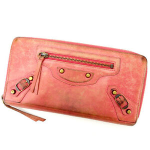 Balenciaga Wallet Purse Long Wallet Pink Woman Authentic Used Y1538