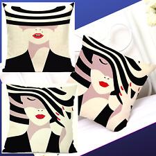 "Home Sofa Decor PILLOW CASE cushion WOMEN  Magazines HATs GLAMOUR LINEN 18x18"""