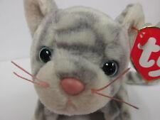 Ty Beanie Baby RARE SILVER Grey Tabby Feline, Kitty Cat PRISTINE New w/Mint Tags