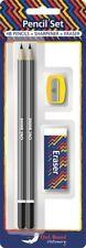 4 Pcs Set 2 Pencils 1 Eraser and 1 Sharpener for office School home