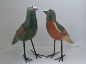 Two Attractive Painted Wooden Birds