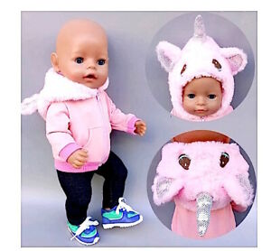 Baby born doll clothes 43 cm 2 piece Unicorn fluffy hooded jacket stretch pants