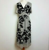 Per Una Midi Dress UK 16 Fit Flare Grey Floral Floaty Chiffon