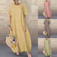 ZANZEA Womens Summer Short Sleeve Beach Dress Ladies Plaid Tartan Maxi Dresses