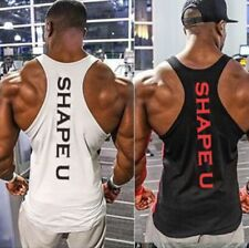 'Shape U' Mens Stringer Vest, Gym, Workouts, Bodybuilding, Fitness, Summer, MMA