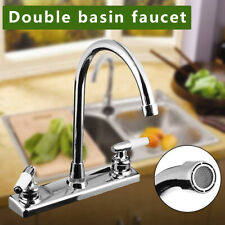 RV / Mobile Home Motor Vehicle Kitchen Sink Faucet Double Handles Steel