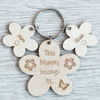 PERSONALISED MOTHERS DAY GIFT WOODEN KEYRING WORLDS BEST MUMMY NANNY CHRISTMAS
