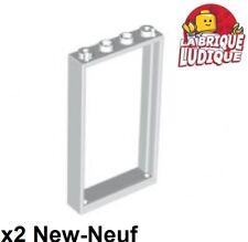 Lego - 2x Door Porte 1x4x6 frame cadre type2 blanc/white 60596 NEUF