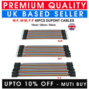 40PCS DUPONT JUMP WIRES M-F M-M F-F JUMPER BREADBOARD CABLES FOR DIY ARDUINO