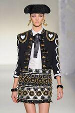 MOSCHINO Black White Gold Hearts Bells Fringe Jacket Coat 42 6