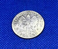 1934 W POLAND 5 ZLOTYCH- SILVER - LAST YEAR OF ISSUE - NICE - #BW-391