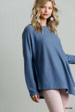 Umgee Blue Waffle Knit Asymmetrical Hem Top