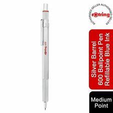 More details for rotring 600 ballpoint pen medium point black ink silver barrel refillable