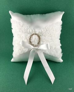 Ringpillow Wedding White Decoration Classy Ring Decor Pillow Satin Silver