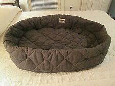 ORVIS  Brown Quilted MICROFIBER Deep Dish DOG BED COVER size Medium 26 X 35