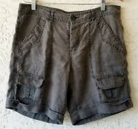 Joie Womens 100% Linen Bermuda Shorts Olive Green Button Closure Cuffed Size 6