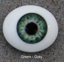 Solid Glass, Flatback Oval Paperweight Eyes - Green Grey, 20mm