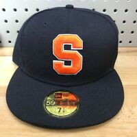 Syracuse Orange NCAA Sports New Era 59FIFTY Fitted Hat Size 7 7/8 Navy Cap EUC