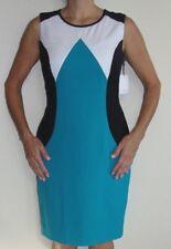 New Womens Calvin Klein Dress Sz 6 Lagoon Blue White Black Sleeveless Sheath