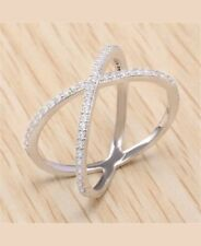 Sterling Silver 925 Women's Infinity CZ Criss Cross Fashion Ring Size 7 Love New