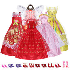 New 5Pcs Handmade Wedding Dress Party Gown Clothes Outfits For Barbie Doll Gift