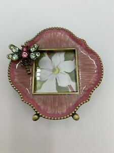 Jay Strongwater Jeweled Enameled Pink Dragonfly Mini Picture Frame in Box