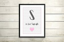 Pink and grey Initial name chevron print -Nursery christening baby gift -